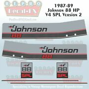 1987-89 Johnson 88 Hp Spl Version 2 Outboard Reproduction 6pc Marine Vinyl Decal