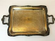 Vintage Used Silverplate Wm Rogers 290 Brass Colored Serving Tray Platter