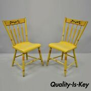 Pair Of Antique Hitchcock Style Yellow Painted Plank Seat Wooden Side Chairs