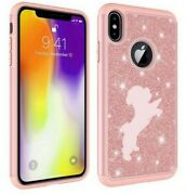 For Apple Iphone Glitter Bling Shockproof Protective Case Cover Bichon Frise
