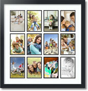 Arttoframes Collage Mat Picture Photo Frame 12 4x6 Openings In Satin Black 228