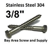 300 3/8 X 2-1/2 Ss Lag Screws Hex Head Lag Bolts 304 18-8 Bulk And Washers