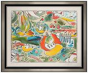 Peter Max Flower Abstract Color Lithograph Hand Signed Vintage Pop Artwork Vase