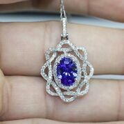 14k White Gold Aaa+ Oval Tanzanite And Diamond Intertwined Pendant With Chain