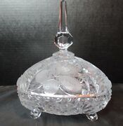 Embossed Frosted Footed Leaves Candy Dish 9 Tall Triangle Shape