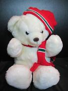 D.h. Holmes Vintage Christmas Bear White With Red Scarf And Hat 20 Long