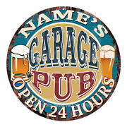 Cp-0146 Any Nameand039s Garage Pub Custom Personalized Tin Sign Decor Gift Ideas