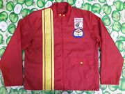 Vintage 70s Anton Racing Apparel Red Nylon Winston Nascar Dow Patches Jacket L
