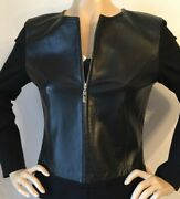 Nwt St John Knit Leather Jacket Sz 4 With Top To Match Black And White