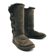 Ugg Australia Bailey Button Triplet Brown Boots Womens Size 7