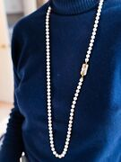 Pearl Necklace - 6mm Size. 36 Inch Strand With 18k Yellow Gold Clasp