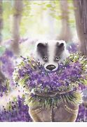 Rare Badger With Flowers By Malyauka Russian Modern Postcard