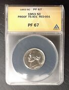 1953 5c Re-engraved Red-001 Fs-401 Proof Jefferson Nickel Anacs Pf 67