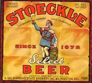 Stoeckle Beer Label T Shirt Diamond State Wilmington Sizes Small-xxxlarge F