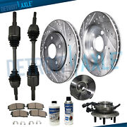 Front Brake Rotors Cv Axle Shafts Wheel Bearings For 2006-2010 Ford Explorer 4wd