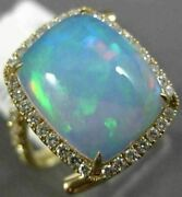 Estate 5.73ct Diamond And Aaa Opal 14k Yellow Gold 3d Square Halo Criss Cross Ring