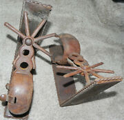 Americana Folk Art Bookends Made From Antique Iron Cowboy Spurs. Very Unusual.