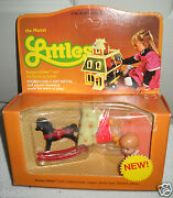 1027 Rare Nrfb Vintage Mattel The Littles Kenny And Rocking Horse/red Wagon