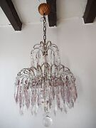 C 1920 Italian Micro Beaded Swags Lavender Crystal Prisms Rare Chandelier Glam