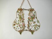 C 1920 Rare Double Vibrant Tole Roses And Flowers Chandelier Vintage Stunning