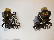 C 1900 French Chateau Set Of 8 Wrought Iron Sconces Vintage Original And Old