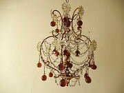 C 1930 French Amethyst Murano Drops Crystal Prisms Swags Old Chandelier Rare
