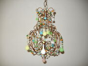 C 1920 French Pink Green Blue Yellow Opaline Confetti Chandelier Petit Rare