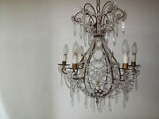 C1940 Rare Crystal Beaded Hot Air Balloon Shape French Maison Bagues Chandelier