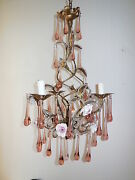 C 1920 French Murano Pink Drops Beaded Porcelain Roses Helix Tole Chandelier
