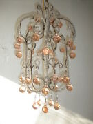 C 1920 French Pink Bobeche Murano Drops Crystal Prism Macaroni Swags Chandelier