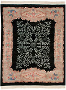 Rra 8x10 Chinese Arts And Crafts Design Two-tone Field Black Rug 19375