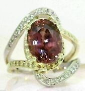 Stunning 14k White/yellow Gold Ring With 10.40 Ctw Pink Zircon And Diamonds D9
