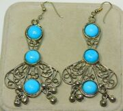 Vintage Silver Tone Turquoise Color Stone Dangle Pierced Earring 1d 108