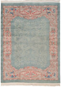 Rra 9x12 Chinese Arts And Crafts Design Aqua And Light Green Rug 19384