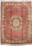 Rra 9x12 Chinese Aubusson Design Rose/ivory Rug 019051