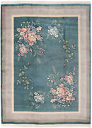 Rra 9x12 Chinese Contemporary Floral Design Teal Green Rug 019181