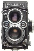 Tlr Rolleiflex 35f Zeiss Planar 3.5/75mm Coated Lens 120 Film Camera With Hood