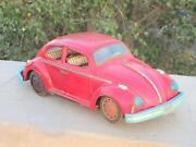 1950's Vintage Old Rare Volkswagen Car Big Size Battery Operated Tin Toy Japan