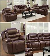 Brown Bonded Leather 3 Pieces Sofa Set W/central Console And Drop Table