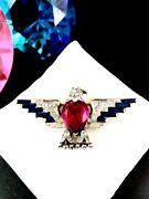 Rare Early 40and039s Crown Trifari Vermeil Sterling Ww2 Patriotic Ruby Eagle Brooch