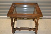 Ethan Allen Royal Charter Oak Square Glass Top Table End Table 16-8021 Table A