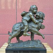 Western Pure Bronze Marble Art Deco Sculpture Boy And Dogs Curvet Frolic Statue