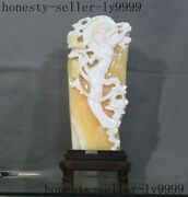 Rare Chinese Natural Shoushan Stone Carving Beauty Fairy Sprinkle Flowers Statue