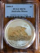 2008 1 Oz Pcgs Ms70 Silver Australian Year Of The Mouse Coin Bullion