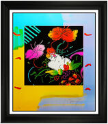 Peter Max Original Color Silkscreen Signed Flower Lady Hand Signed Art Painting