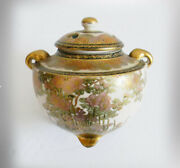 Oriental Japanese Vintage Lidded Jar With Floral And Gold Accents - Marked