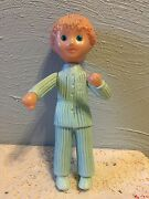 Old Vintage Figurine Toy Doll Plastic Boy Kid Movable Arms See