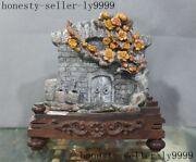 China Natural Shoushan Stone Master Hand Carved Magpies Plum Flower Door Statue