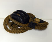 Antique Block And Tackle Nautical With Rope Wood Rollers