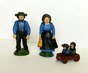 Vintate Amish Cast Iron Figures Man And Wife Wagon